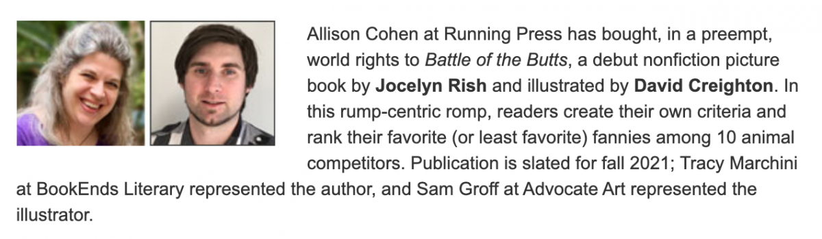 Publishers Weekly announcement for Battle of the Butts