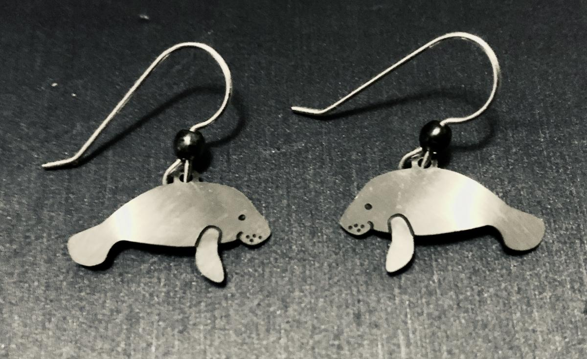 Silver manatee earrings