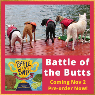 Graphic with four dog butts